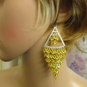 Vintage Dijon Yellow Boho Dangle Drop Earrings
